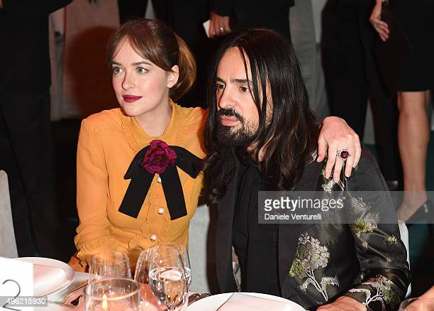 Actress Dakota Johnson wearing Gucci and Creative Director of Gucci Alessandro Michele attends LACMA 2015 ArtFilm Gala Honoring James Turrell and...