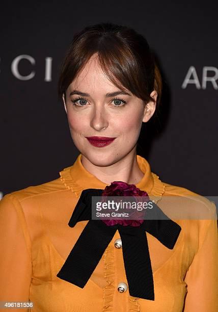 Actress Dakota Johnson wearing Gucci attends LACMA 2015 ArtFilm Gala Honoring James Turrell and Alejandro G Iñárritu Presented by Gucci at LACMA on...