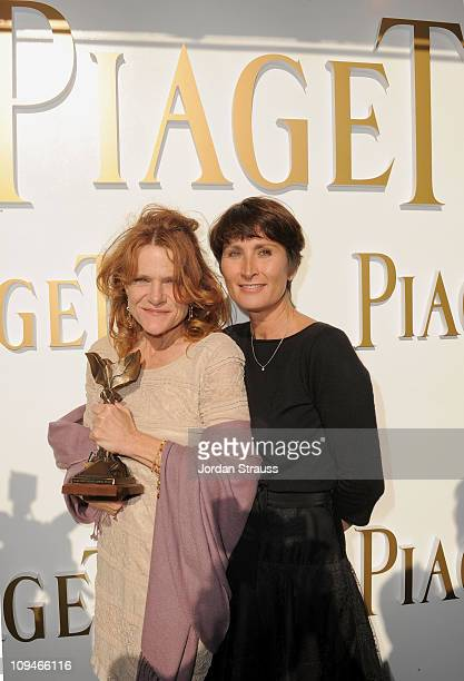 Actress Dale Dickey winner of the Best Supporting Female award for 'Winter's Bone' and wearing Piaget and Piaget PR Manager Natacha Hertz in the...