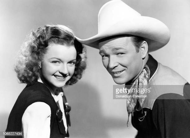 Actress Dale Evans and Roy Rogers in a scene from the movie The Yellow Rose of Texas