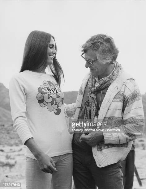 Actress Daliah Lavi with director Sam Wanamaker behind the scenes of the movie 'Catlow' 1971