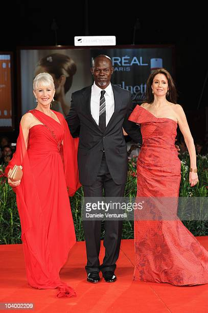Actress Dame Helen Mirren actor Djimon Hounsou and director Julie Taymor attend The Tempest World Premiere at the Palazzo del Cinema during the 67th...