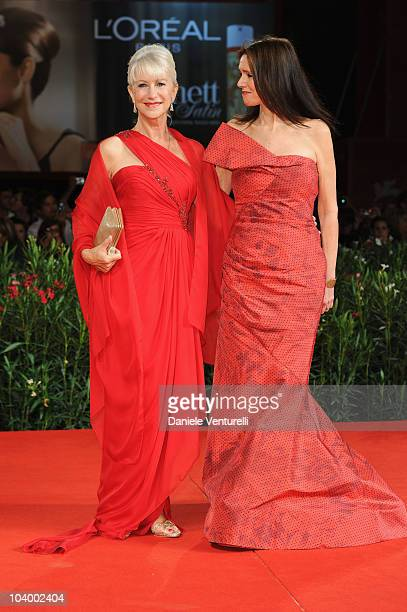 Actress Dame Helen Mirren and director Julie Taymor attend The Tempest World Premiere at the Palazzo del Cinema during the 67th Venice International...