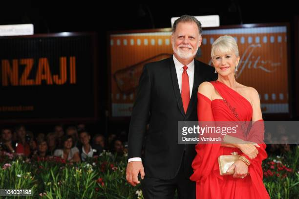 Actress Dame Helen Mirren and Taylor Hackford attends The Tempest World Premiere at the Palazzo del Cinema during the 67th Venice International Film...