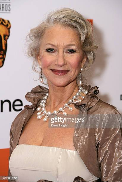 Actress Dame Helen Mirren arrives at The Orange British Academy Film Awards at the Royal Opera House on February 11 2007 in London England