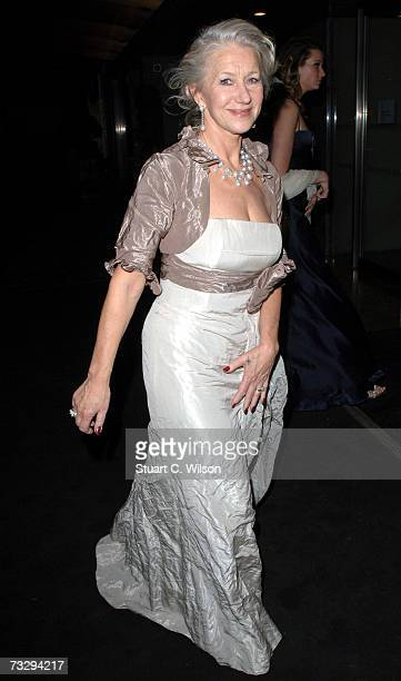 Actress Dame Helen Mirren arrives for the Pathe and Miramax BAFTA after show party at the Hilton Park Lane Hotel February 11 2007 in London England