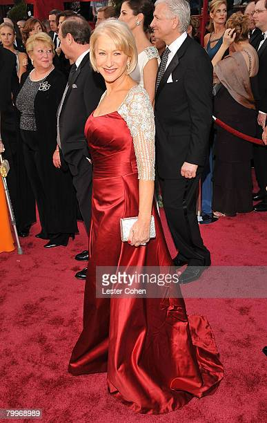 Actress Dame Helen Mirren attends the 80th Annual Academy Awards at the Kodak Theatre on February 24 2008 in Los Angeles California