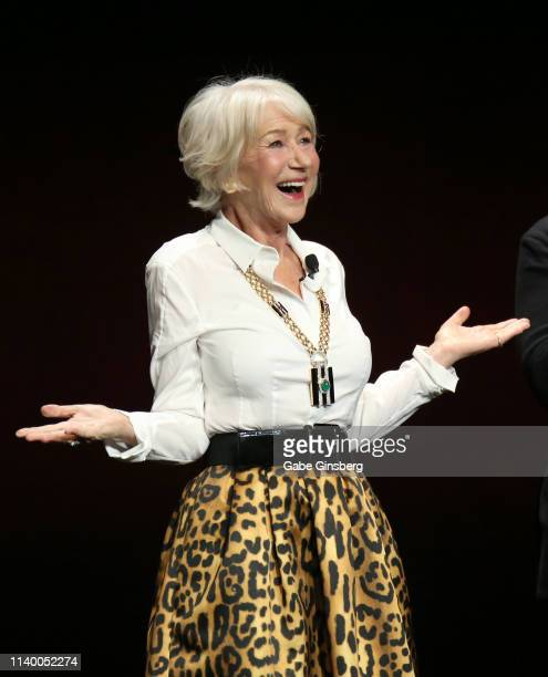 Actress Dame Helen Mirren speaks during Warner Bros Pictures The Big Picture exclusive presentation during CinemaCon at The Colosseum at Caesars...