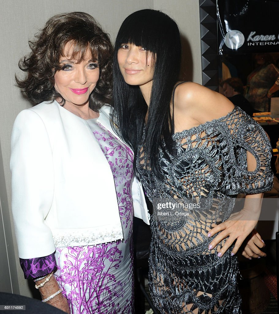 Actress Dame Joan Collins and actress Bai Ling attend The Hollywood Show held at The Westin Los Angeles Airport on January 7, 2017 in Los Angeles, California.