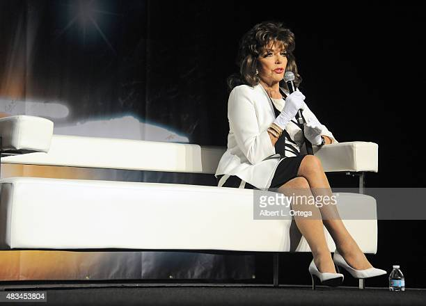 Actress Dame Joan Collins at the 14th annual official Star Trek convention at the Rio Hotel Casino on August 8 2015 in Las Vegas Nevada