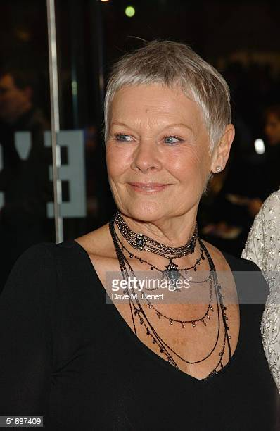 """Actress Dame Judi Dench arrives at the Cinema and Television Benevolent Fund Royal Film Performance annual charity screening, this year of """"Ladies In..."""