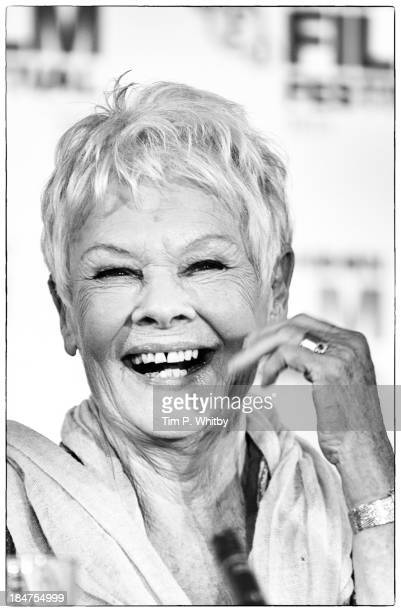 Actress Dame Judi Dench attends a press conference for 'Philomena' during the 57th BFI London Film Festival at Claridges Hotel on October 16 2013 in...