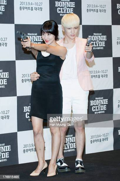 Actress Dana and Key of South Korean boy band SHINee attend the press conference for musical 'Bonnie and Clyde' at MCube in Seoul on August 19 2013...