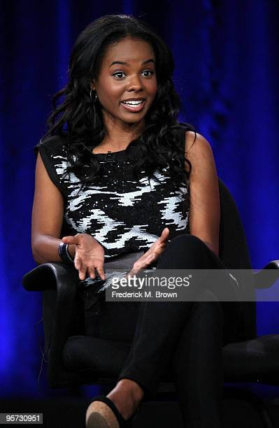 Actress Dana Davis speaks onstage at the ABC '10 Things I Hate About You' QA portion of the 2010 Winter TCA Tour day 4 at the Langham Hotel on...