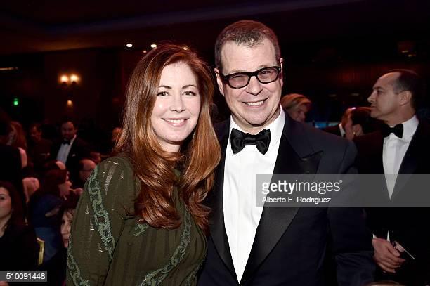 Actress Dana Delany and honoree John McNamara attend the 2016 Writers Guild Awards at the Hyatt Regency Century Plaza on February 13 2016 in Los...