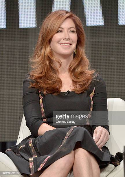 Actress Dana Delany speaks onstage during the 'Hand Of God' panel discussion at the Amazon Studios portion of the 2015 Summer TCA Tour on August 3...