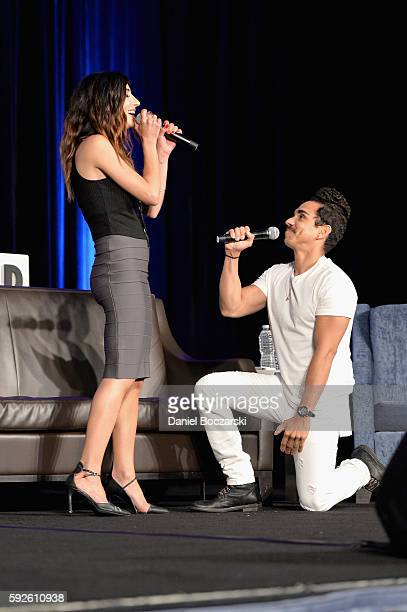 Actress Dana DeLorenzo and Actor Ray Santiago speak onstage during Wizard World Comic Con Chicago 2016 Day 3 at Donald E Stephens Convention Center...