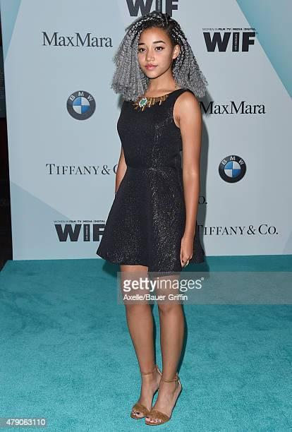 Actress Dana Melanie arrives at Women In Film 2015 Crystal Lucy Awards at the Hyatt Regency Century Plaza on June 16 2015 in Los Angeles California
