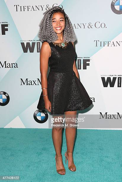 Actress Dana Melanie attends the Women in Film 2015 Crystal Lucy Awards at the Hyatt Regency Century Plaza Hotel on June 16 2015 in Los Angeles...