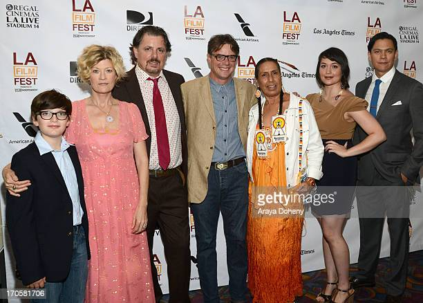 Actress Dana WheelerNicholson writers/directors Alex Smith and Andrew Smith actors Casey CampHorinek Lily Gladstone and Chaske Spencer arrive at the...