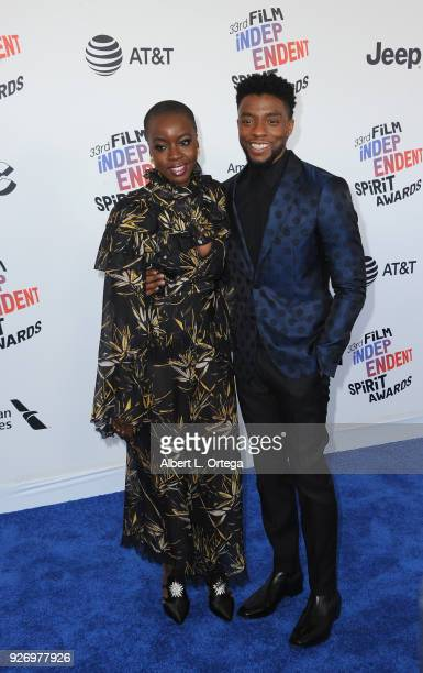 Actress Danai Gurira and actor Chadwick Boseman arrive for the 2018 Film Independent Spirit Awards on March 3 2018 in Santa Monica California