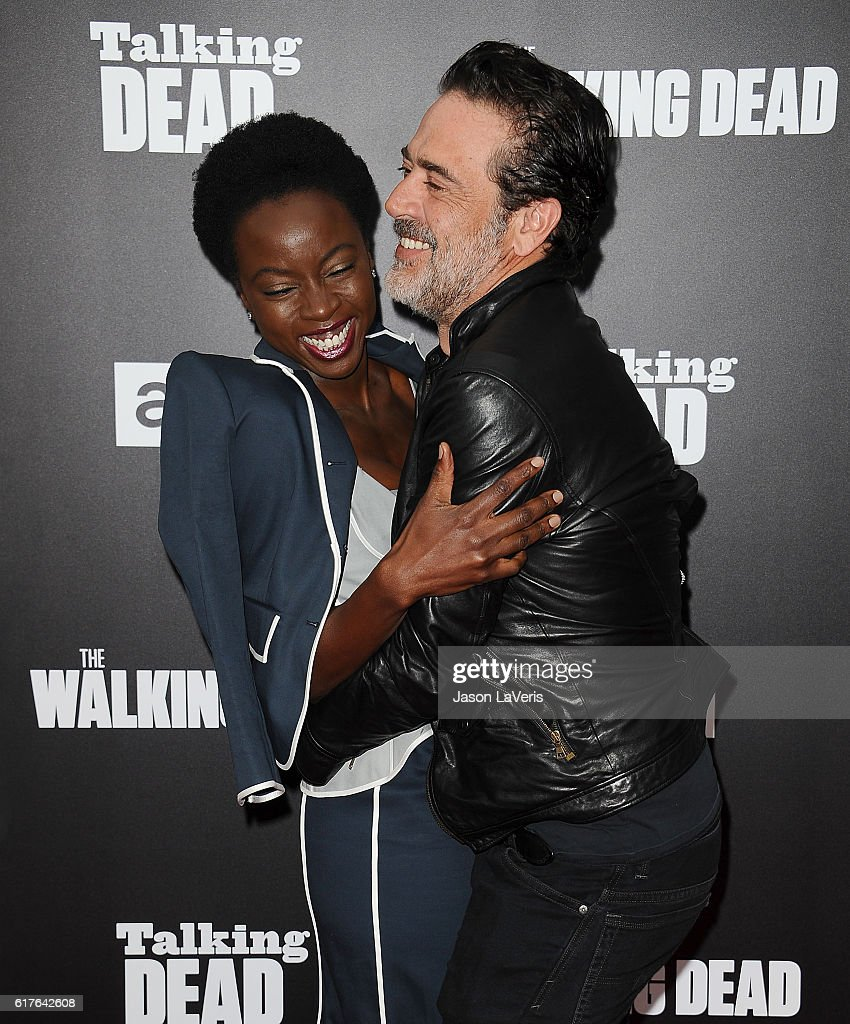 Actress Danai Gurira and actor Jeffrey Dean Morgan attend the live, 90-minute special edition of 'Talking Dead' at Hollywood Forever on October 23, 2016 in Hollywood, California.