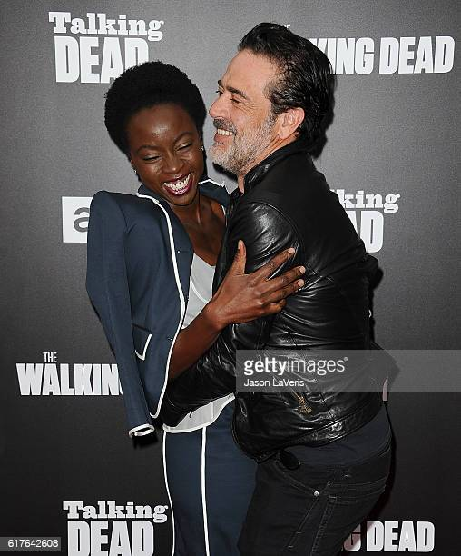Actress Danai Gurira and actor Jeffrey Dean Morgan attend the live 90minute special edition of 'Talking Dead' at Hollywood Forever on October 23 2016...