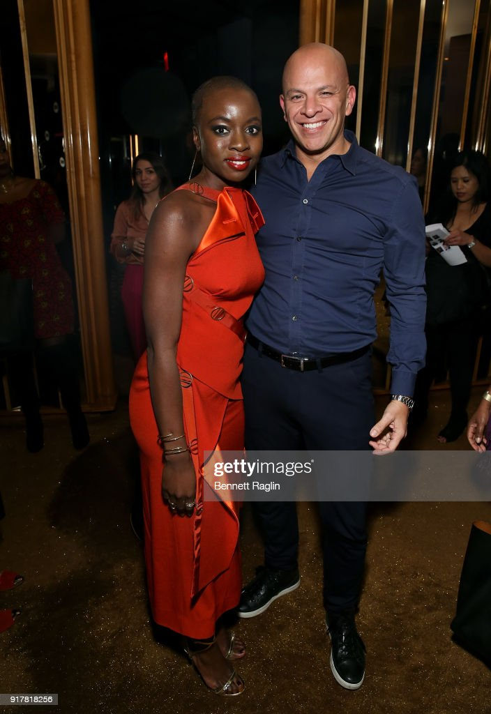 Actress Danai Gurira and agent Mark Subias pose for a picture during the Danai x One x Love Our Girls celebration at The Top of The Standard on February 12, 2018 in New York City.