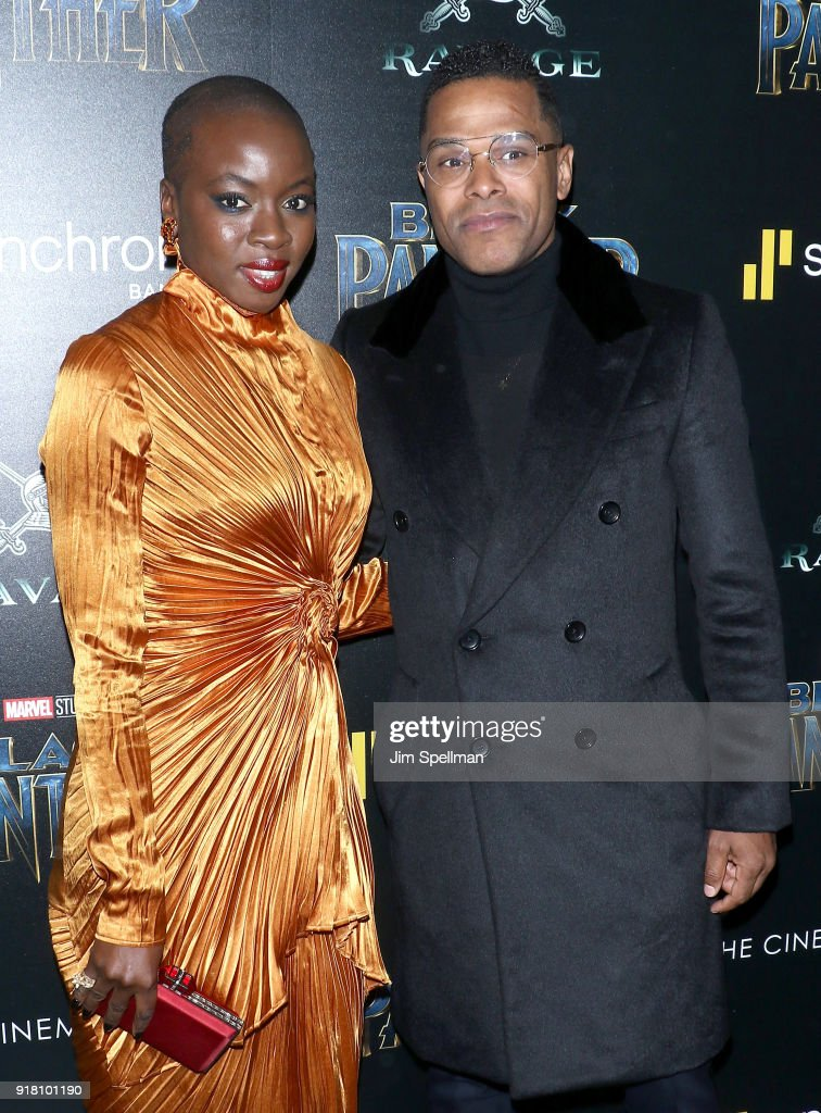 Actress Danai Gurira and singer Maxwell attend the screening of Marvel Studios' 'Black Panther' hosted by The Cinema Society with Ravage Wines and Synchrony at Museum of Modern Art on February 13, 2018 in New York City.