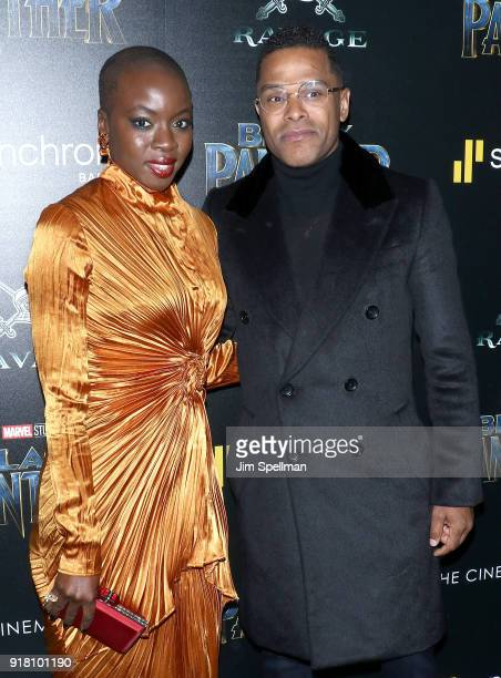 Actress Danai Gurira and singer Maxwell attend the screening of Marvel Studios' 'Black Panther' hosted by The Cinema Society with Ravage Wines and...
