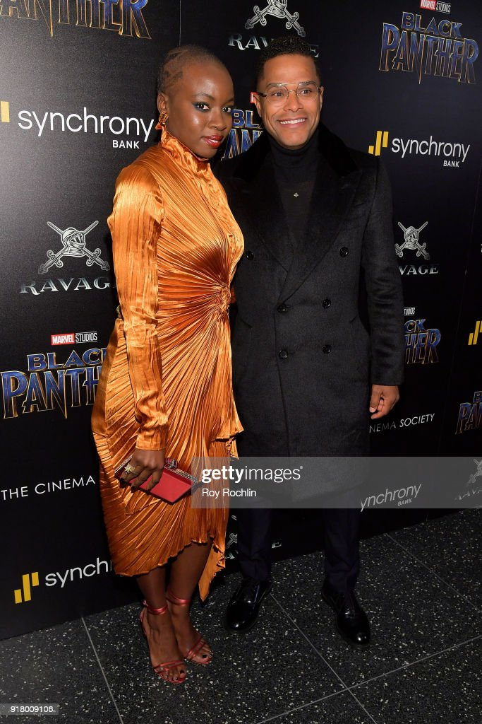 Actress Danai Gurira and singer-songwriter Maxwell attend the screening of Marvel Studios' 'Black Panther' hosted by The Cinema Society on February 13, 2018 in New York City.