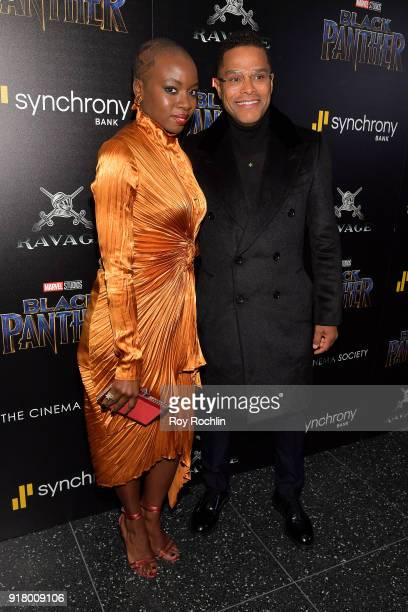 Actress Danai Gurira and singersongwriter Maxwell attend the screening of Marvel Studios' 'Black Panther' hosted by The Cinema Society on February 13...