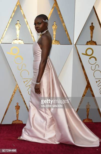 US actress Danai Gurira arrives for the 90th Annual Academy Awards on March 4 in Hollywood California / AFP PHOTO / VALERIE MACON