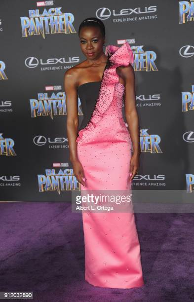 Actress Danai Gurira arrives for the premiere of Disney and Marvel's 'Black Panther' held at Dolby Theatre on January 29 2018 in Hollywood California