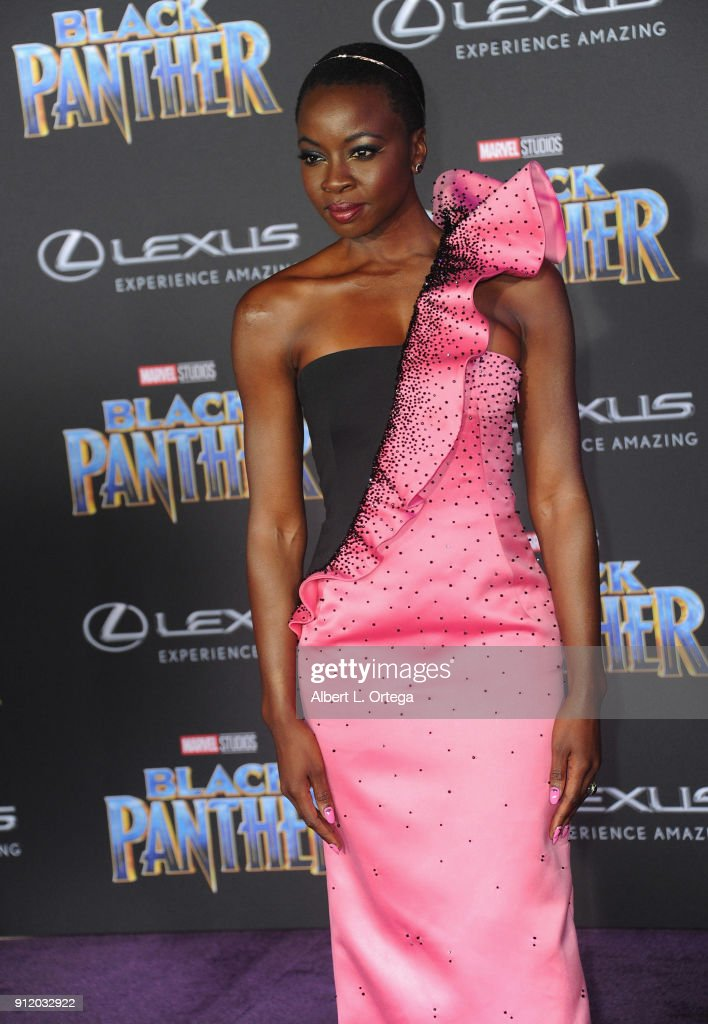Actress Danai Gurira arrives for the premiere of Disney and Marvel's 'Black Panther' held at Dolby Theatre on January 29, 2018 in Hollywood, California.