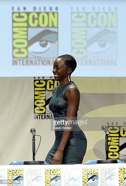 Actress Danai Gurira attends AMC's 'The Walking Dead' panel during ComicCon International 2014 at San Diego Convention Center on July 25 2014 in San...