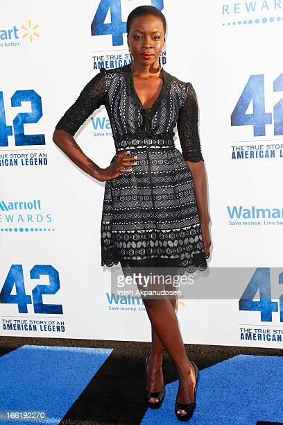 Actress Danai Gurira attends the premiere of Warner Bros Pictures' And Legendary Pictures' '42' at TCL Chinese Theatre on April 9 2013 in Hollywood...