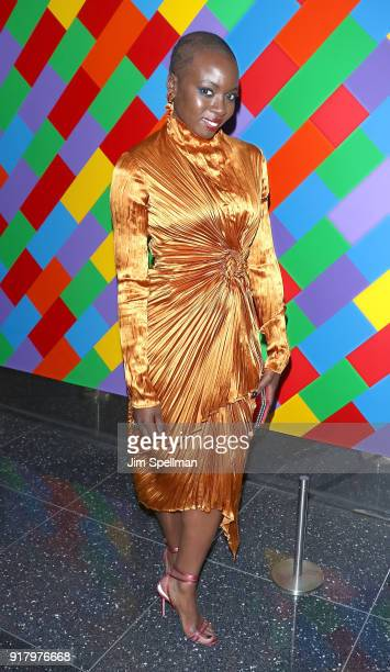 Actress Danai Gurira attends the screening of Marvel Studios' 'Black Panther' hosted by The Cinema Society with Ravage Wines and Synchrony at Museum...