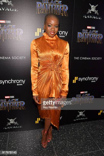 Actress Danai Gurira attends the screening of Marvel Studios' Black Panther hosted by The Cinema Society on February 13 2018 in New York City