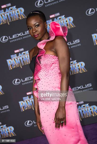 Actress Danai Gurira attends the world premiere of Marvel Studios Black Panther, on January 29 in Hollywood, California. / AFP PHOTO / VALERIE MACON