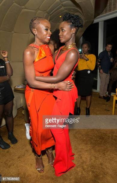 Actress Danai Gurira greets Lupita Nyong'o during the DANAI x One x Love Our Girls celebration at The Top of The Standard on February 12 2018 in New...