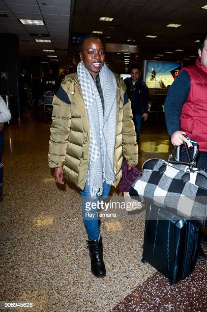 Actress Danai Gurira leaves the Salt Lake City International Airport on January 18 2018 in Salt Lake City Utah