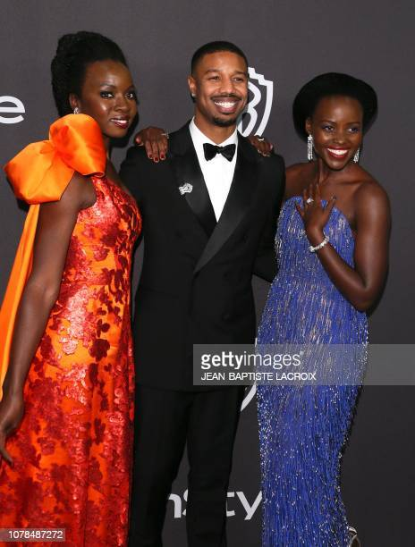 Actress Danai Gurira Michael B Jordan and Lupita Nyong'o arrive for the Warner Bros and In Style 20th annual post Golden Globes party at the Oasis...