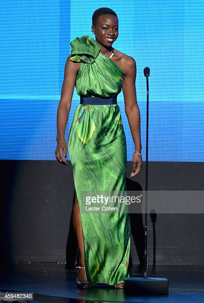 Actress Danai Gurira speaks onstage at the 2014 American Music Awards at Nokia Theatre LA Live on November 23 2014 in Los Angeles California