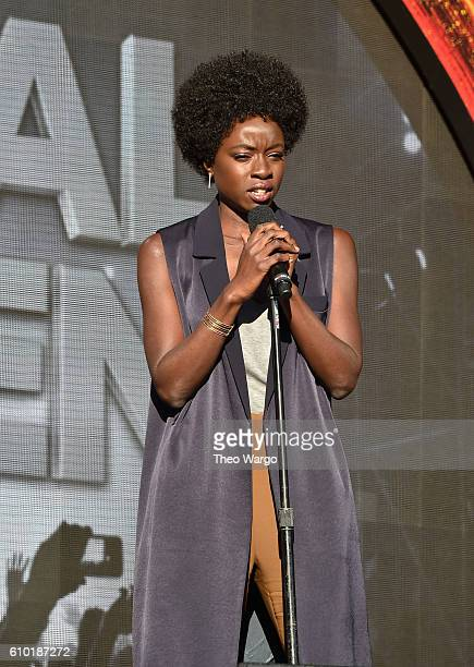 Actress Danai Gurira speaks onstage at the 2016 Global Citizen Festival In Central Park To End Extreme Poverty By 2030 at Central Park on September...