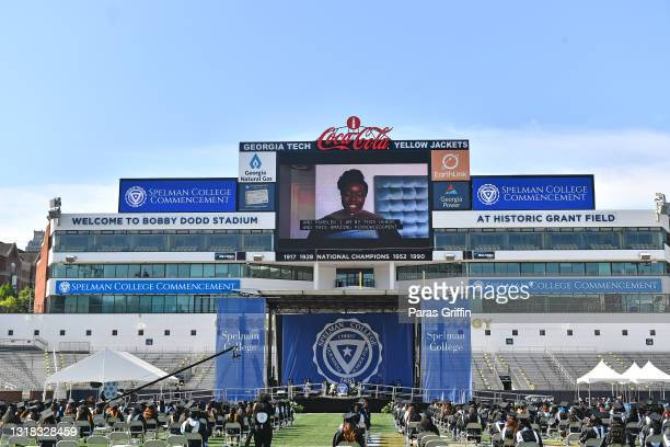 Actress Danai Gurira speaks virtually to the class of 2020 during Spelman College Commencement at Bobby Dodd Stadium on May 16, 2021 in Atlanta,...