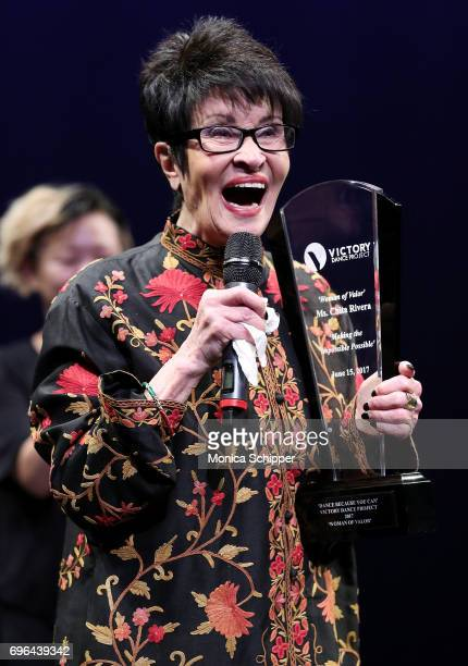 Actress dancer and singer Chita Rivera accepts the 'Woman of Valor' award during the 2017 Victory Dance Project Anniversary Celebration at Manhattan...