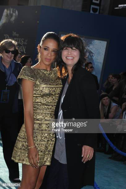 Actress Dania Ramirez and Elizabeth Keener arrive at the premiere of Disney's Pirates of the Caribbean Dead Men Tell No Tales at the Dolby Theatre on...