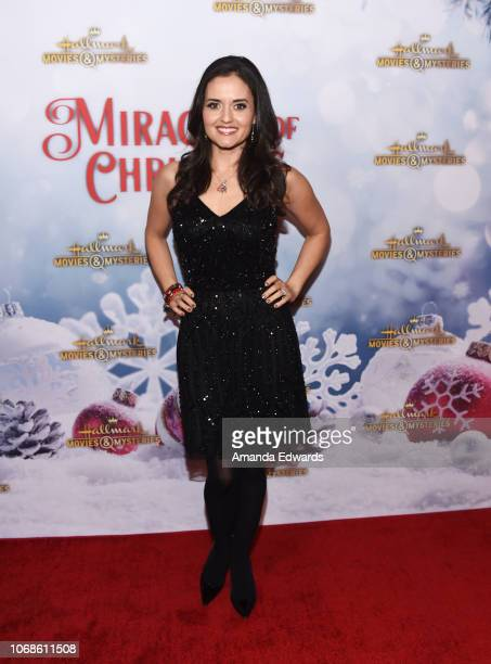 Actress Danica McKellar arrives at the Hallmark Channel 'Once Upon A Christmas Miracle' screening and holiday party at 189 by Dominique Ansel on...