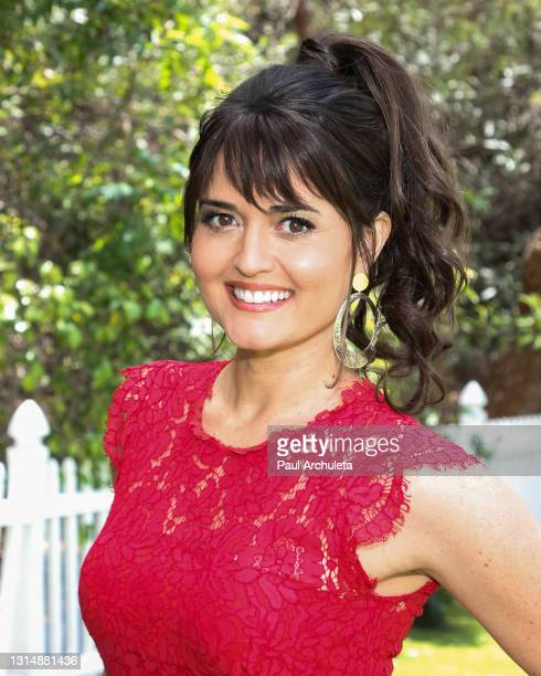 """Actress Danica McKellar visits Hallmark Channel's """"Home & Family"""" at Universal Studios Hollywood on April 27, 2021 in Universal City, California."""